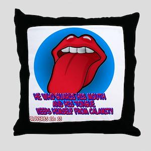 tongue_tee Throw Pillow