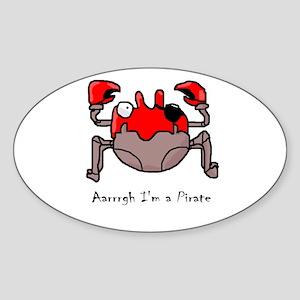Pirate Crab Oval Sticker