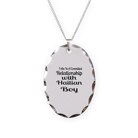 I Am In Relationship With Hait Necklace Oval Charm