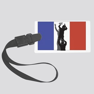 rugby lineout flag france Large Luggage Tag