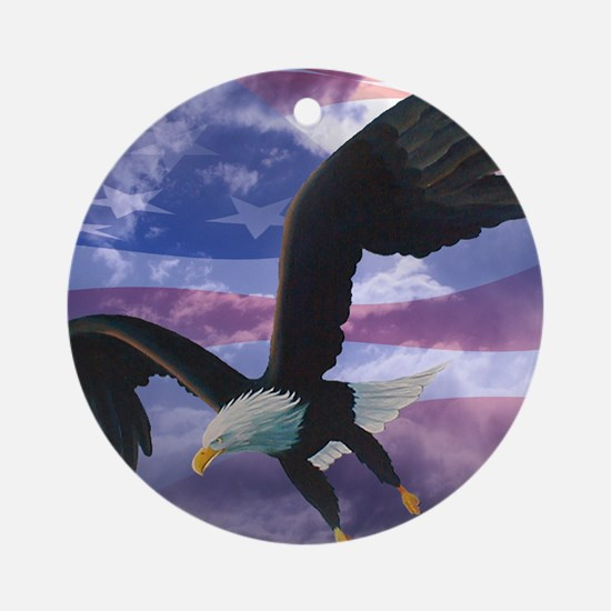 freedom eagle square 2 Round Ornament