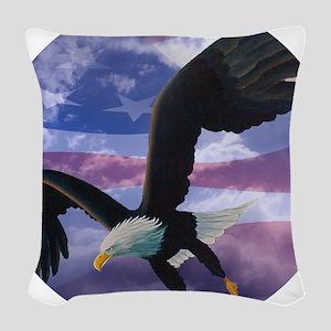 freedom eagle round 2 Woven Throw Pillow