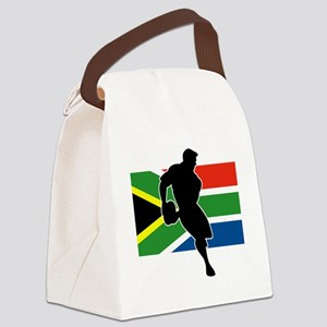 rugby player flag south africa Canvas Lunch Bag