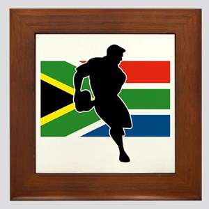 rugby player flag south africa Framed Tile