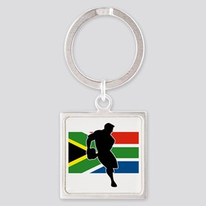 rugby player flag south africa Square Keychain