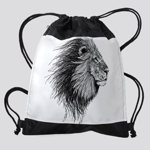 Lion (Black and White) Drawstring Bag