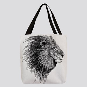 Lion (Black and White) Polyester Tote Bag