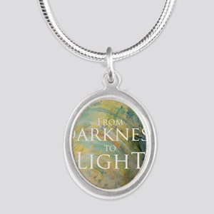 PSTR-from darkness to light Silver Oval Necklace