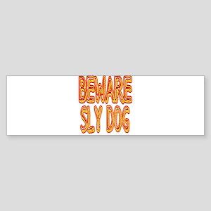 Beware Sly Dog Bumper Sticker