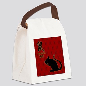 rat_10x10_bw_red Canvas Lunch Bag