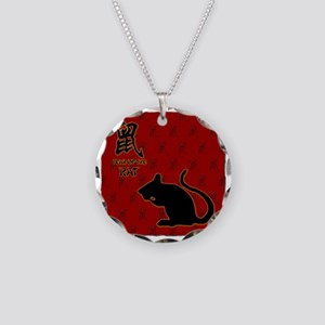 rat_10x10_bw_red Necklace Circle Charm