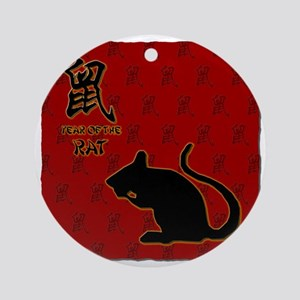 rat_10x10_bw_red Round Ornament