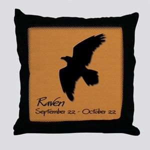 raven_10x10_colour Throw Pillow