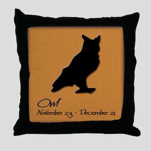 owl_10x10_colour Throw Pillow