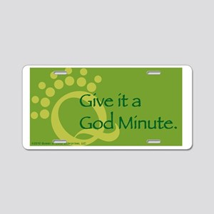 God Minute Green Aluminum License Plate