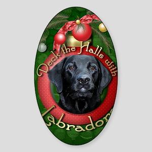 DeckHalls_Labradors_Black_Gage Sticker (Oval)