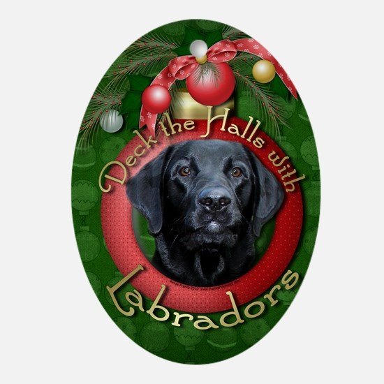DeckHalls_Labradors_Black_Gage Oval Ornament