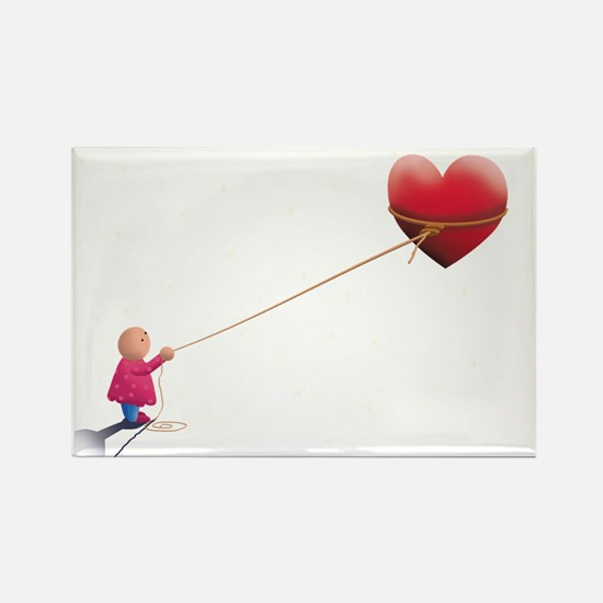 Night illustration Heart and sky Rectangle Magnet