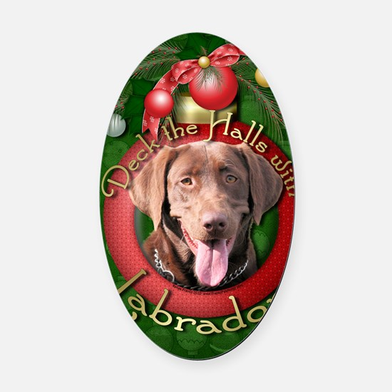 DeckHalls_Labradors_Chocolate Oval Car Magnet