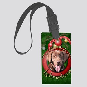 DeckHalls_Labradors_Chocolate Large Luggage Tag