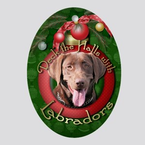 DeckHalls_Labradors_Chocolate Oval Ornament