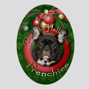 DeckHalls_Frenchies_Teal Oval Ornament