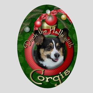 DeckHalls_Corgis Oval Ornament