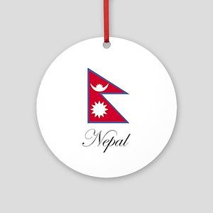 Nepal - Nepalese Flag Ornament (Round)