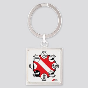3-Circle-of-Scuba Square Keychain