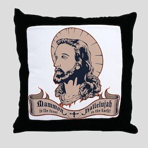 jesus-mullet-T Throw Pillow