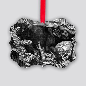 Elephant Rampage Picture Ornament