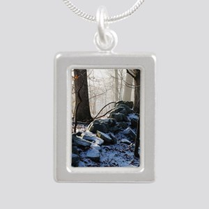 Stone Wall Silver Portrait Necklace