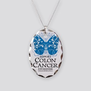 Colon-Cancer-Butterfly Necklace Oval Charm