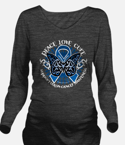 Colon-Cancer-Butterf Long Sleeve Maternity T-Shirt