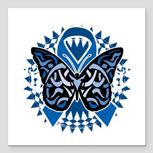 "Colon-Cancer-Butterfly-T Square Car Magnet 3"" x 3"""