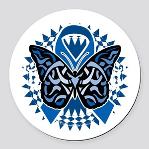 Colon-Cancer-Butterfly-Tribal-2-b Round Car Magnet