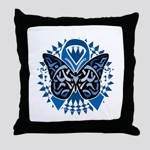 Colon-Cancer-Butterfly-Tribal-2-blk Throw Pillow