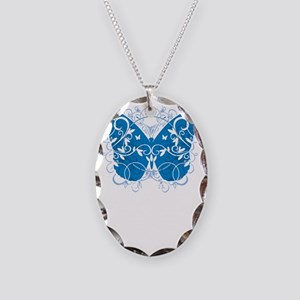 Colon-Cancer-Butterfly-blk Necklace Oval Charm