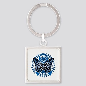 Colon-Cancer-Butterfly-Tribal-2-bl Square Keychain