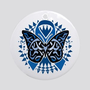 Colon-Cancer-Butterfly-Tribal-2-blk Round Ornament