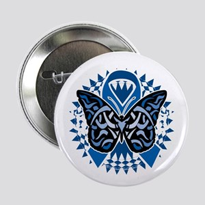 "Colon-Cancer-Butterfly-Tribal-2-blk 2.25"" Button"
