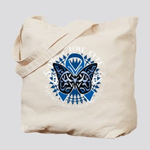 Colon-Cancer-Butterfly-Tribal-2-blk Tote Bag