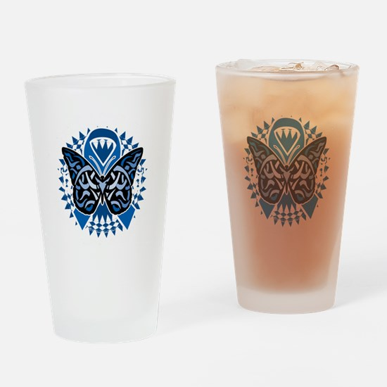 Colon-Cancer-Butterfly-Tribal-2-blk Drinking Glass