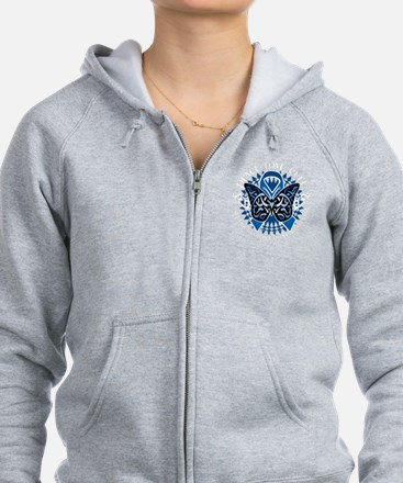 Colon-Cancer-Butterfly-Tribal-2 Zip Hoodie