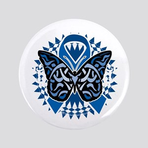 "Colon-Cancer-Butterfly-Tribal-2-blk 3.5"" Button"