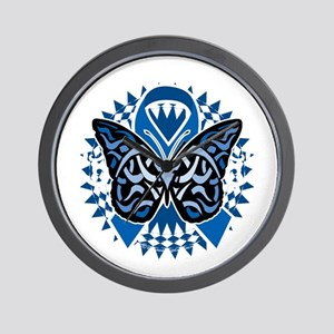 Colon-Cancer-Butterfly-Tribal-2-blk Wall Clock