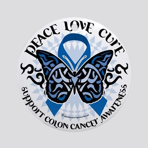 Colon-Cancer-Butterfly-Tribal-2 Round Ornament