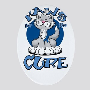 Paws-for-the-Cure-Cat-Colon-Cancer-b Oval Ornament