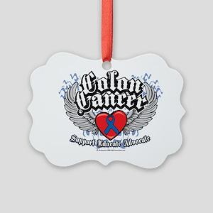 Colon-Cancer-Wings Picture Ornament