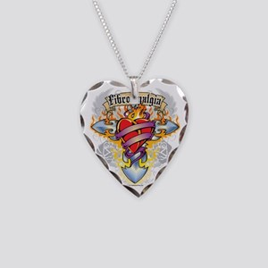 Fibromyalgia-Cross--Heart Necklace Heart Charm